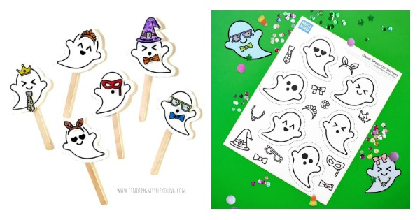 Create dress up ghost puppets using this free halloween printable
