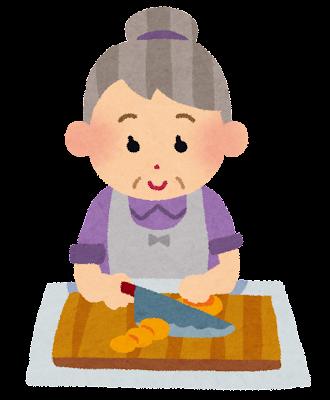 料理をしているお婆さんのイラスト