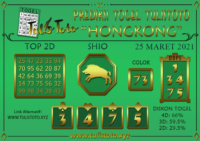 Prediksi Togel HONGKONG TULISTOTO 25 MARET 2021