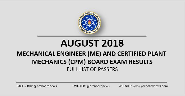 OFFICIAL RESULTS:  August 2018 Mechanical Engineer ME, CPM board exam passers