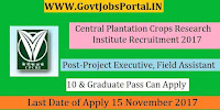 Central Plantation Crops Research Institute Recruitment 2017– 23 Project Executive, Field Assistant
