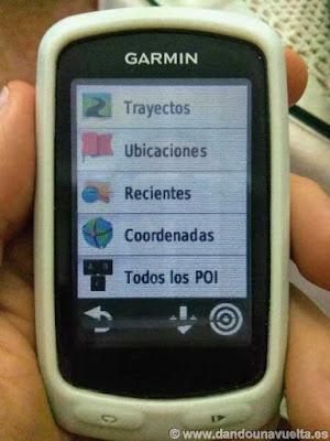 Seleccionar opción Trayectos, cargar ruta en Garmin