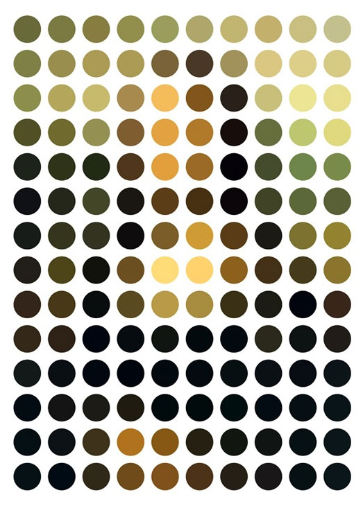 mona lisa in colored dots