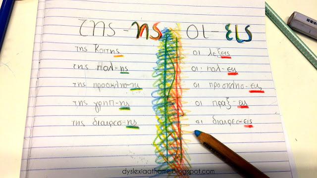 ορθογραφία, ης, εις,χρώματα,δυσλεξία