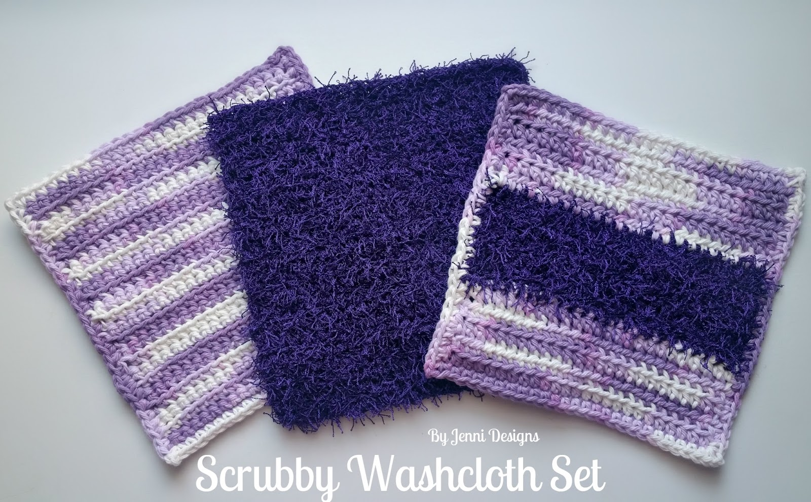 By Jenni Designs Free Crochet Pattern Scrubby Washcloth Set