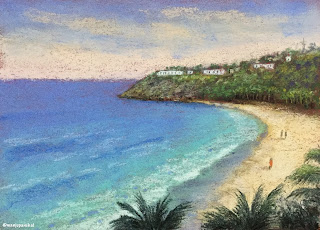 A soft pastel painting of seashore from Goa by Indian artist and blogger Manju Panchal