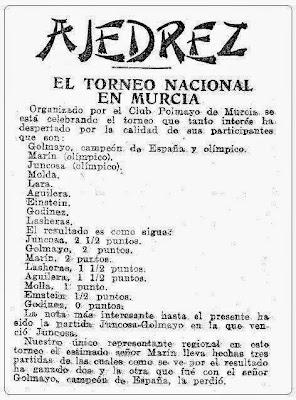 Información sobre e I Torneo Nacional de Ajedrez de Murcia 1927 en Mundo Deportivo, 22 de abril de 1927