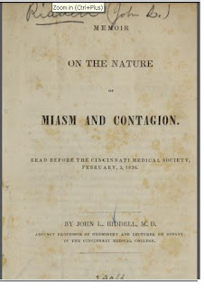 "Cover of booklet titled ""On the Nature of Miasma and Contagion"" by John Leonard Riddell, Cincinnati, 1836 explaining that diseases are caused by germs, not by vapors."