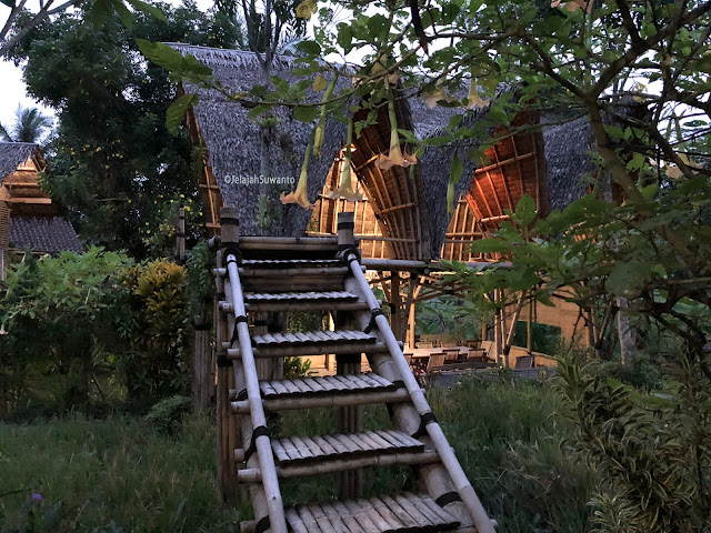 tangga bambu menuju ruang serba guna Omah Yudhi Kandangan Temanggung ©JelajahSuwanto