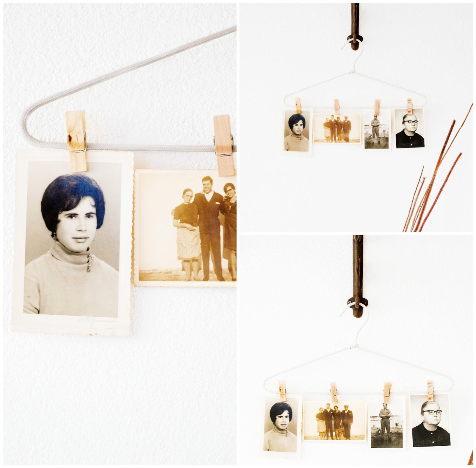 Je kunt ook een mooie en simpele kledinghanger gebruiken met kleine houtenknippers