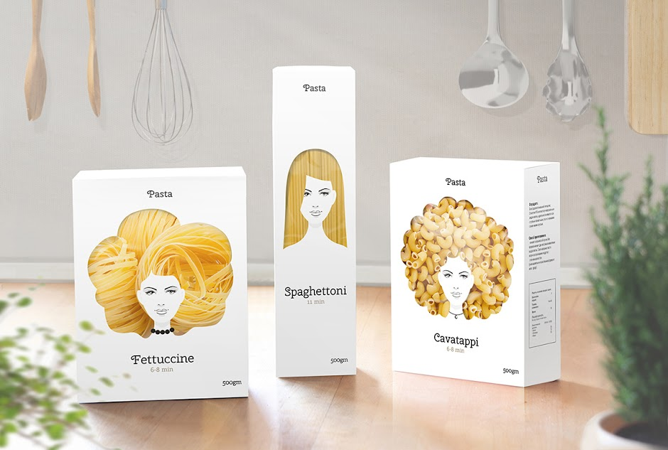 good hair day pasta packaging design