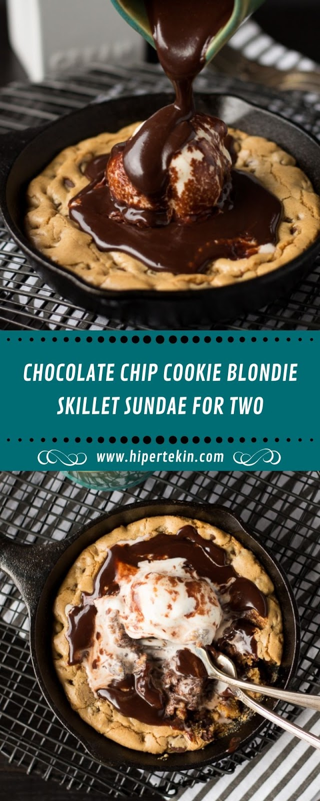 CHOCOLATE CHIP COOKIE BLONDIE SKILLET SUNDAE FOR TWO