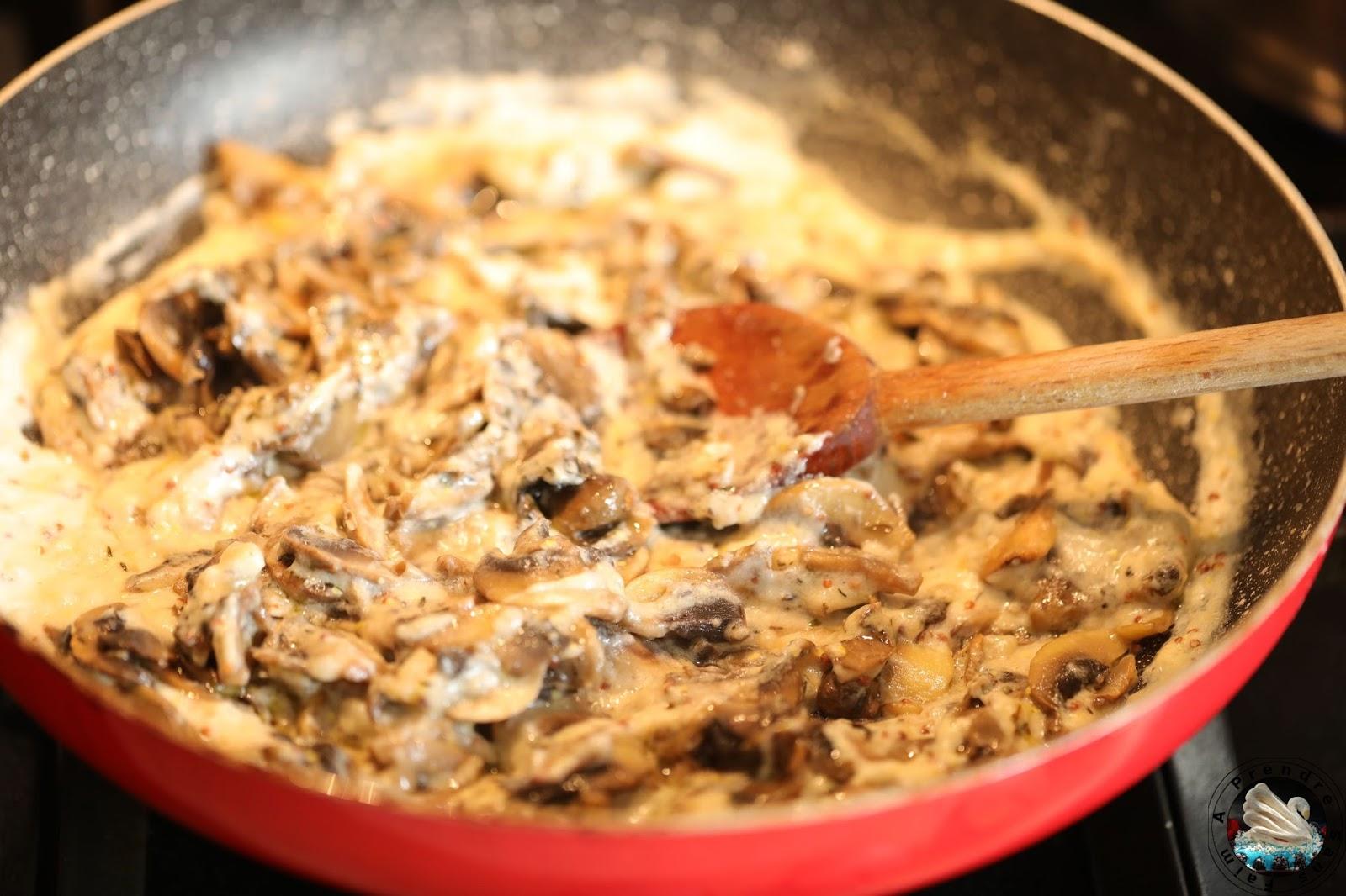 Macaronis au four aux fromages et champignons