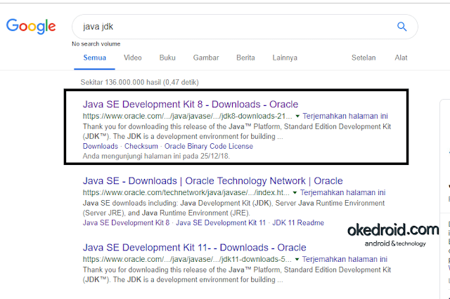 java jdk di google search