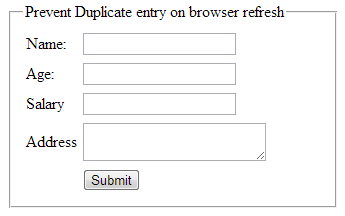 How to prevent duplicate record/data entry on page refresh in asp