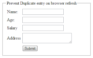Avoid duplicate record entry in database on refreshing browser