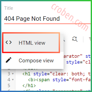 Custom 404 Page Not Found In Blogger Step 2
