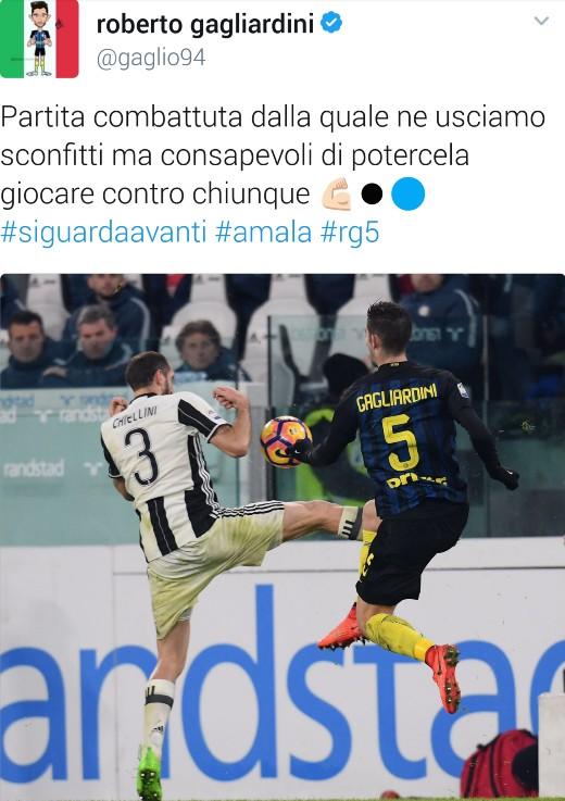 Tweet di Gagliardini dopo Inter Juve