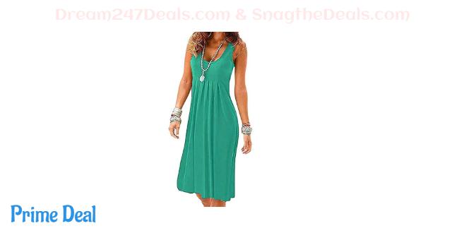 Womens Casual Sleeveless Plain Pleated Tank Vest Dresses 45%OFF