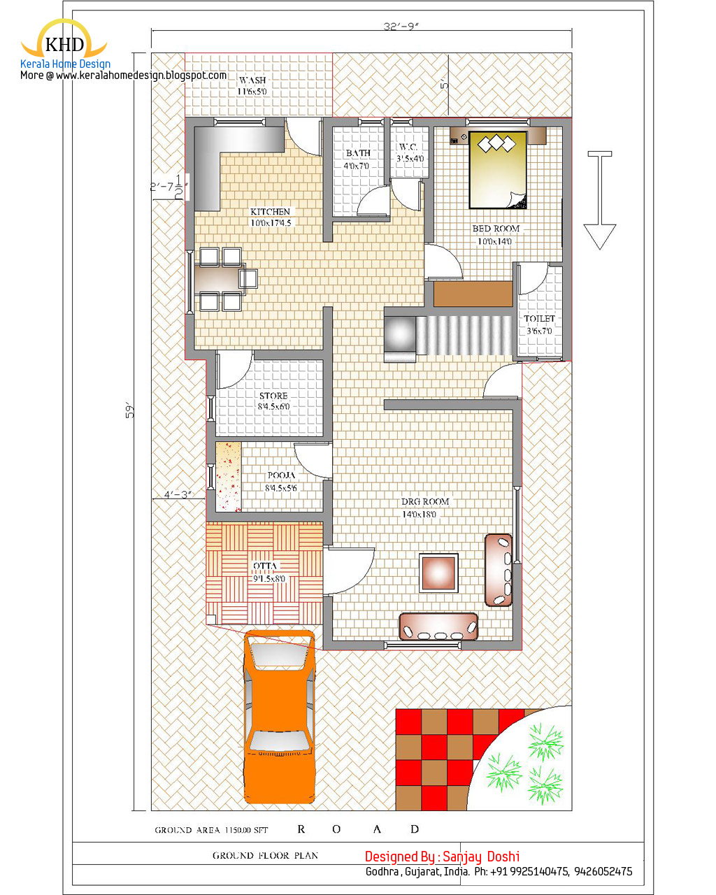 Duplex house plan and elevation 2310 sq ft home for 80 sq ft bathroom designs