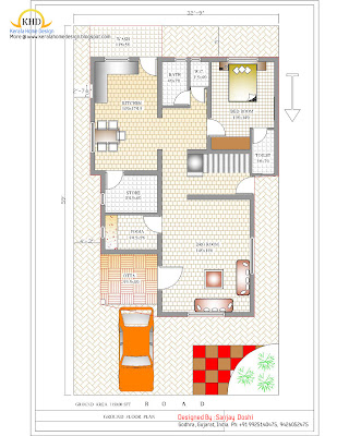 Duplex House Plan and Elevation Ground Floor Plan - 215 Sq M (2310 Sq. Ft.) - January 2012