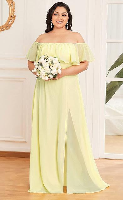 Plus Size Yellow Chiffon Bridesmaid Dresses