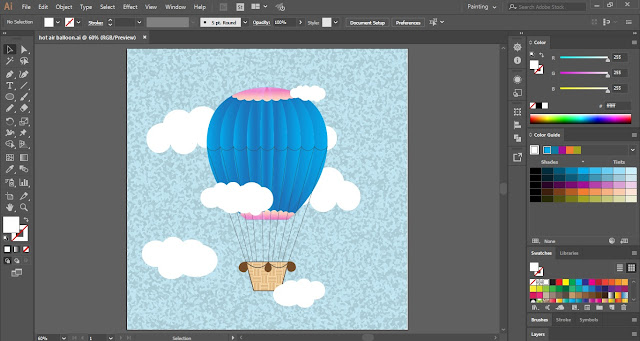 Hot Air Balloon in Adobe Illustrator