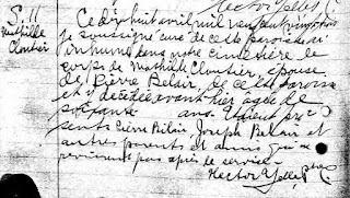 Burial record of Mathilde Cloutier Belair