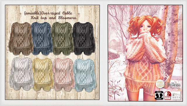 {amiable}Over-sized Cable Knit top and Bloomers@the Shiny Shabby(50%OFF SALE).