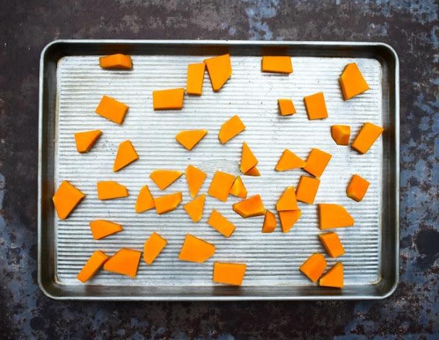 Step 1 - Squash - chunks of butternut squash in a sheet pan
