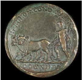 Roman Imperial medallion depicting the emperor Commodus (c.180 - 192 AD), dressed as Hercules, ploughing out the furrow of Rome
