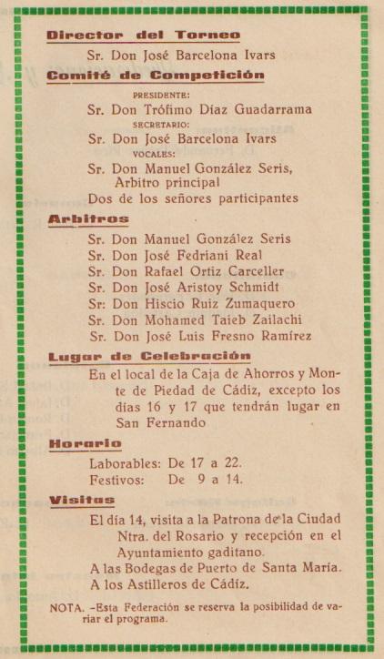 Página 5 del folleto del XXVIII Campeonato de España Individual 1963