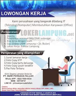 Karir Lampung Terbaru di PT. BUMI PERSADA FALLAH Bandar Lampung Agustus 2016