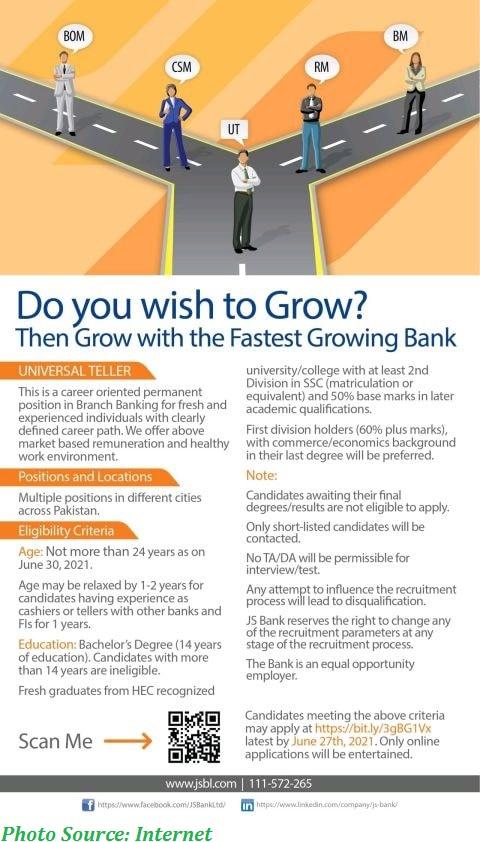 JS Bank Jobs 2021 - Latest Jobs in JS Bank Universal Tellers / Cashiers June 2021 Apply Online