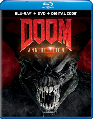 Blu-ray cover for Universal Pictures' DOOM: ANNIHILATION!