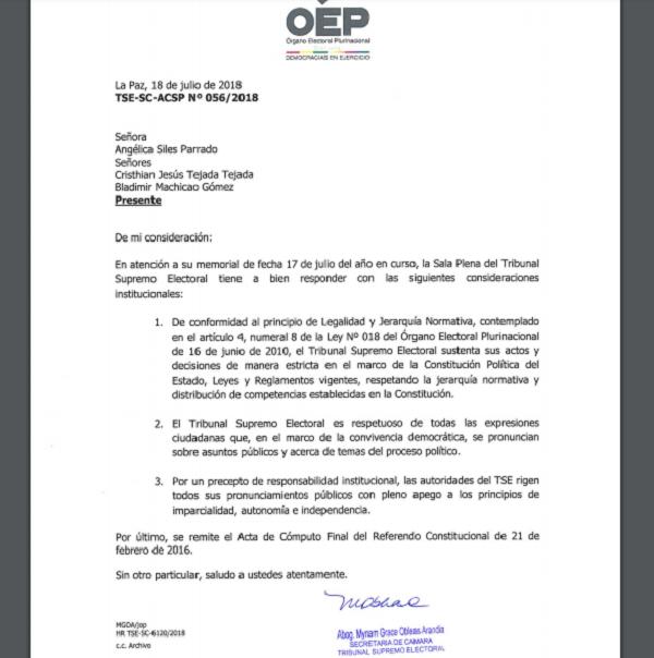 La nota del TSE no fue firmada por los vocales y no se refiere al caso específico de la reelección / TSE