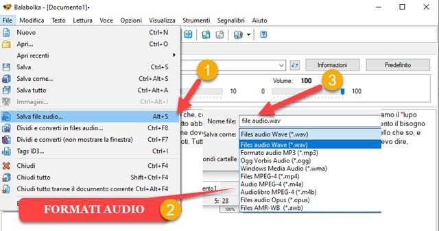 salvare file audio da testo