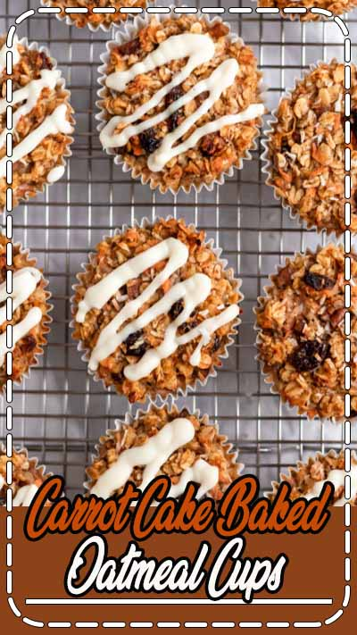 Delicious, healthy carrot cake baked oatmeal cups with raisins, pecans and shredded coconut. These easy carrot cake baked oatmeal cups are naturally sweetened with a touch of maple syrup and topped with a light cream cheese glaze. A wonderful on-the-go or meal prep breakfast for your week! #carrotcake #oatmeal #breakfast #oats #glutenfree #mealprep
