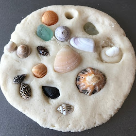 Salt dough with shells pressed in