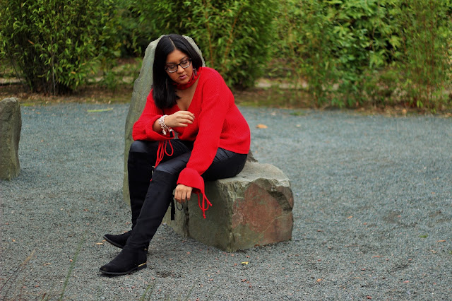 red jumper outfit ideas