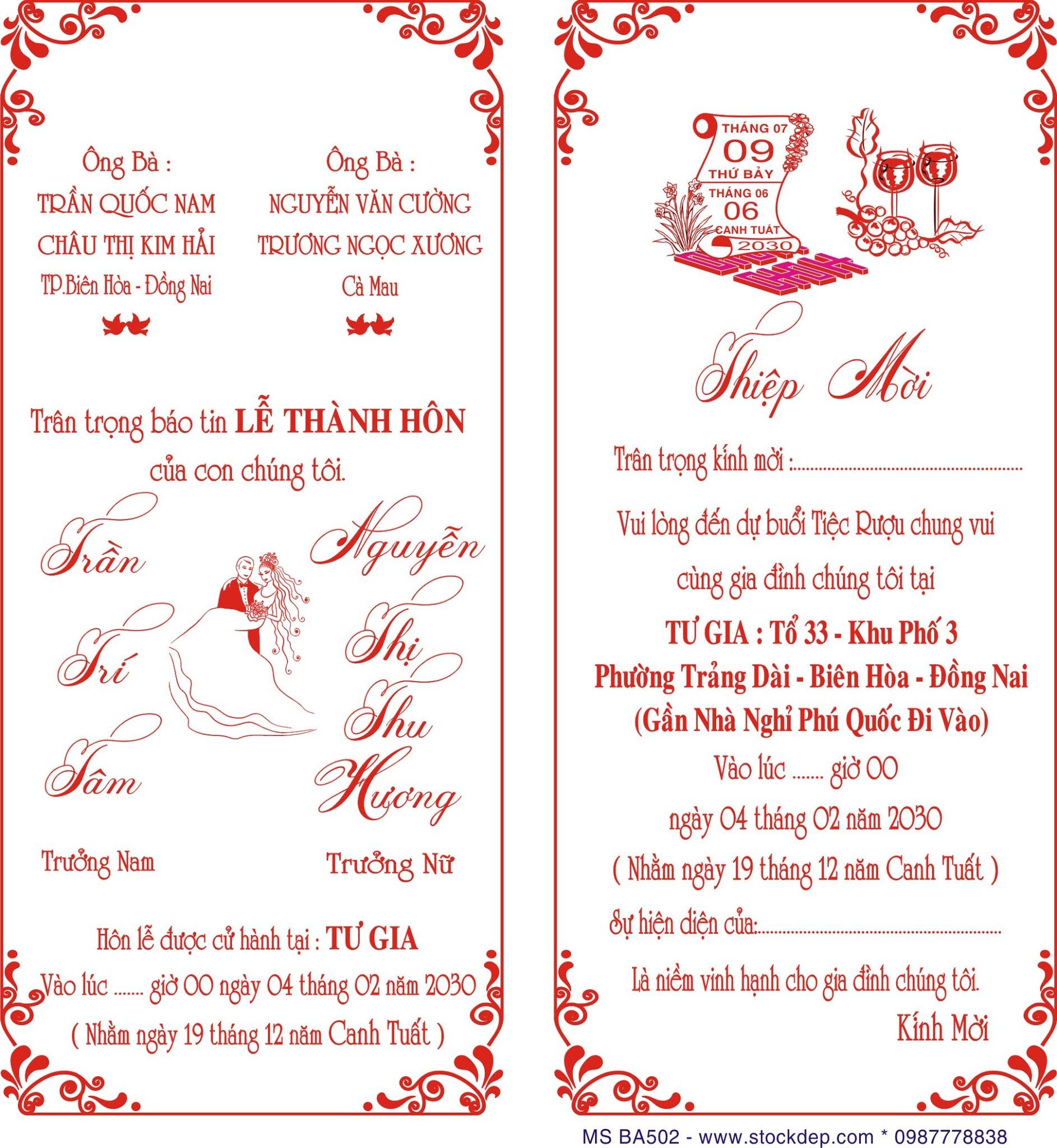 Thiệp cưới in màu