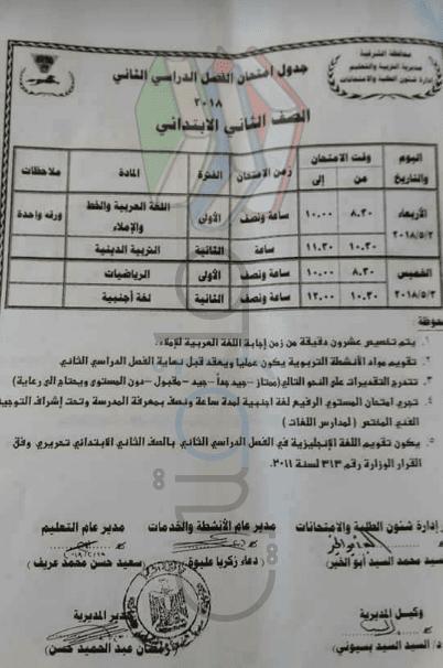 جدول امتحانات الصف الثاني الابتدائي الترم الثاني 2018 محافظة الشرقية