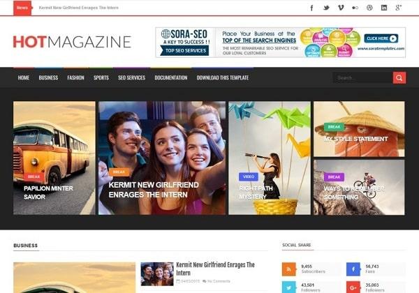 Hot Magazine Blogger Template premium manualy verified SEO optimized theme