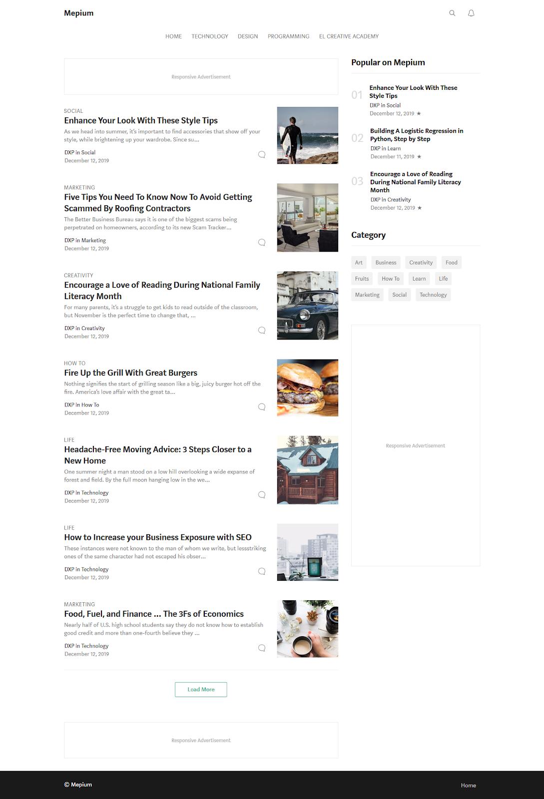 Tampilan Homepage Desktop
