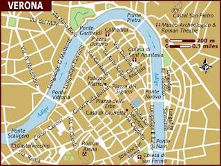 Map of Verona Italy