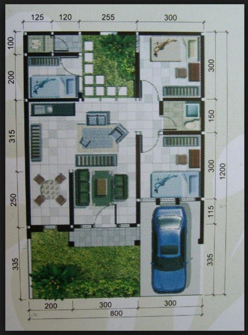 denah rumah ukuran 10x12 m tampak minimalis