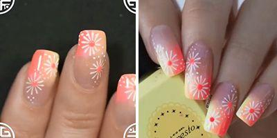 finalizando as unhas decoradas com florzinhas