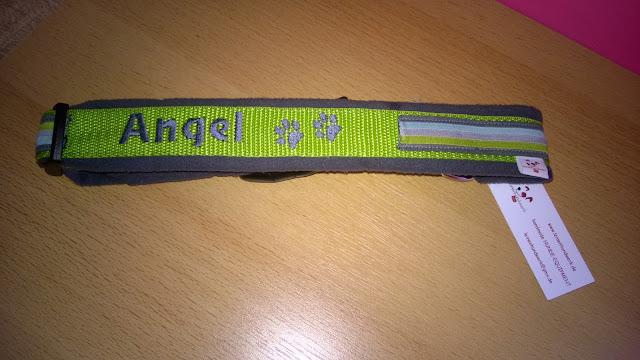Hundehalsband mit Namens bestickung.