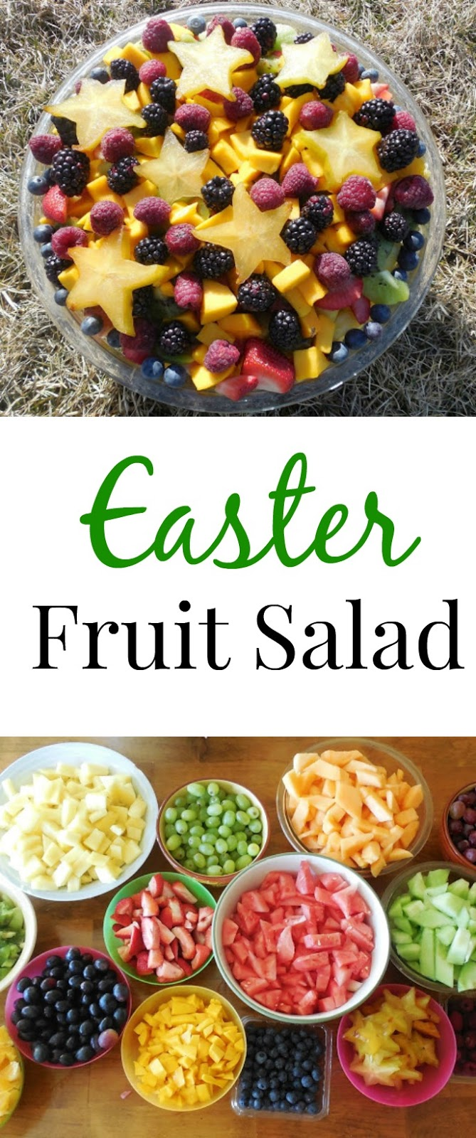 This Easter fruit salad is simple to make and you can use whatever fruit you have on hand. Perfect for Spring and the perfect healthy dish. www.nutritionistreviews.com