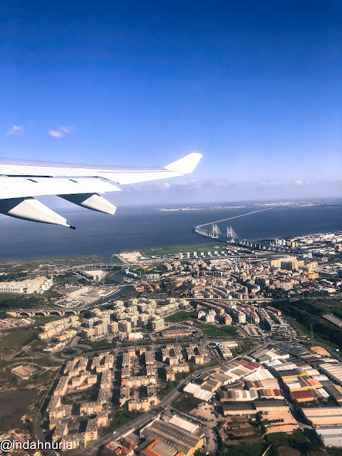 Lisbon seeing from the airplane above